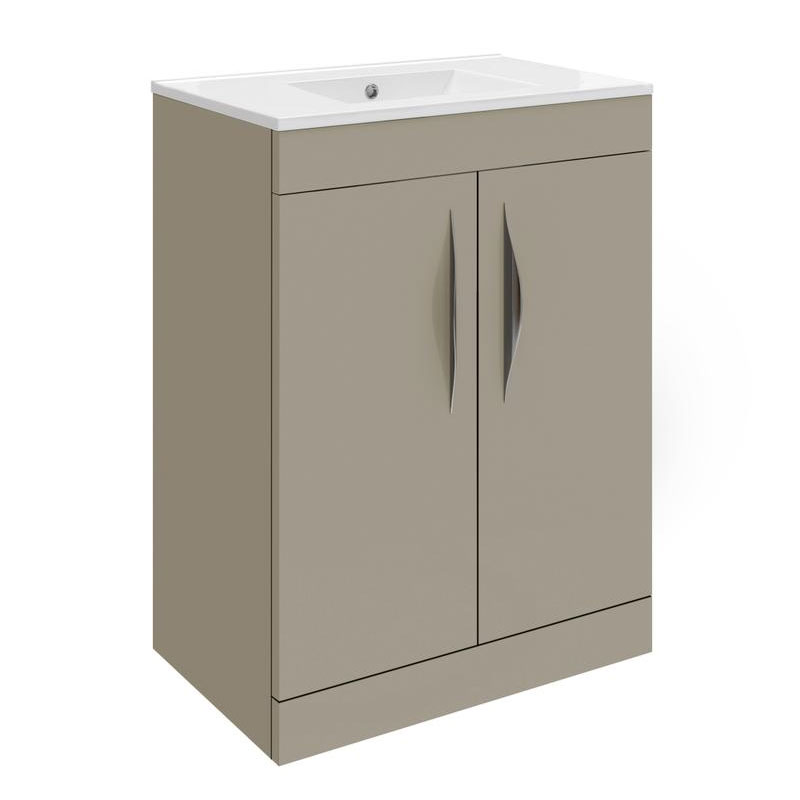 Hudson Reed Memoir 600mm 2 Door Floor Mounted Basin & Cabinet - Gloss Cashmere - 2 Basin Options Large Image