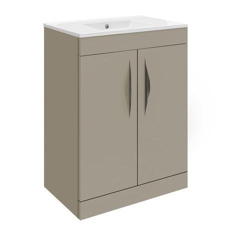 Hudson Reed Memoir 600mm 2 Door Floor Mounted Basin & Cabinet - Gloss Cashmere - 2 Basin Options