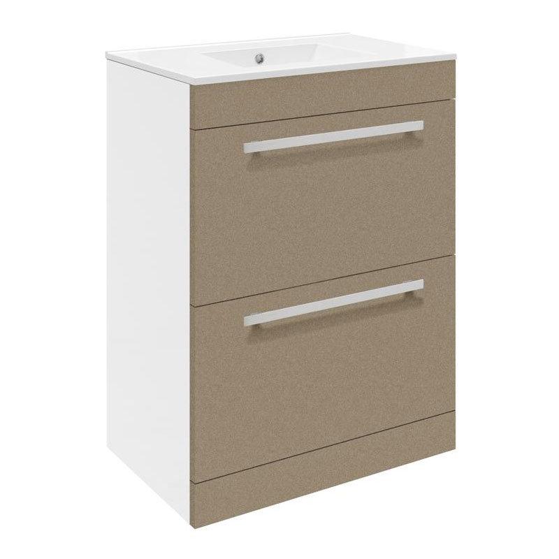 Ultra Design 600mm 2 Drawer Floor Mounted Basin & Cabinet - Gloss Caramel - 2 Basin Options Large Image