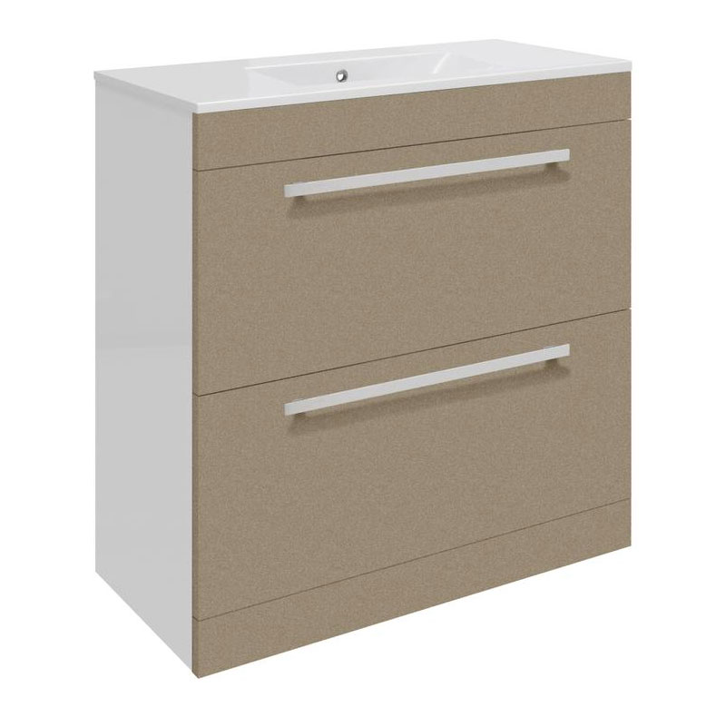 Ultra Design 800mm 2 Drawer Floor Mounted Basin & Cabinet - Gloss Caramel - 2 Basin Options profile large image view 1