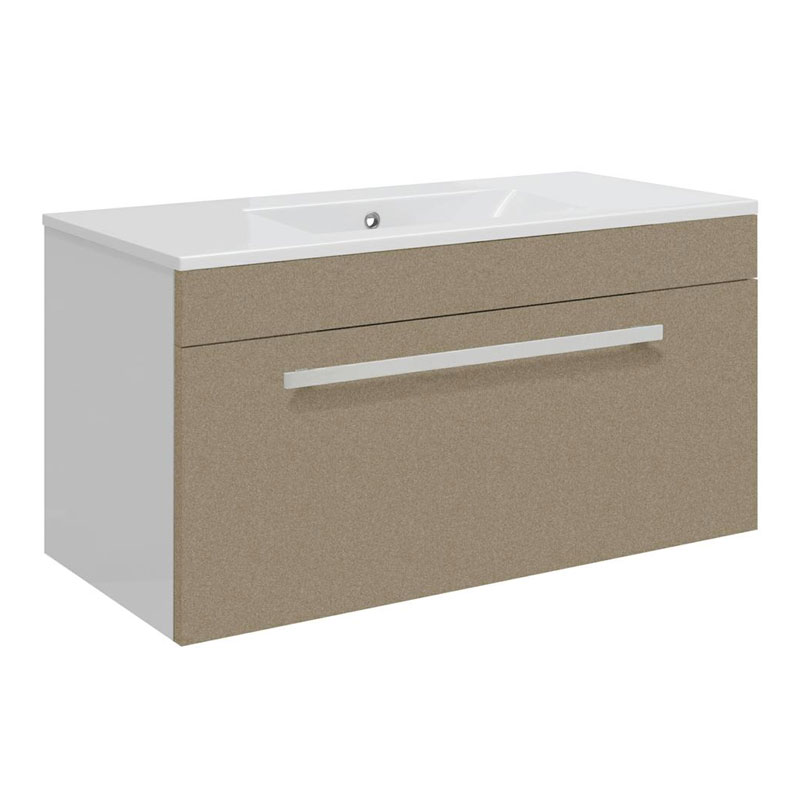 Ultra Design 800mm 1 Drawer Wall Mounted Basin & Cabinet - Gloss Caramel - 2 Basin Options