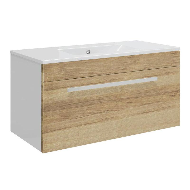 Ultra Design 800mm 1 Drawer Wall Mounted Basin & Cabinet - Natural Walnut - 2 Basin Options Large Image