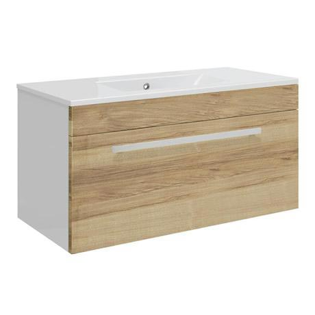 Ultra Design 800mm 1 Drawer Wall Mounted Basin & Cabinet - Natural Walnut - 2 Basin Options
