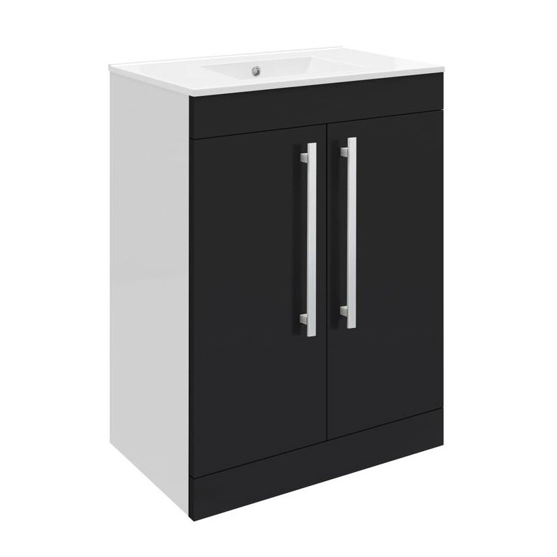 Ultra Design 600mm 2 Door Floor Mounted Basin & Cabinet - Gloss Black - 2 Basin Options Large Image