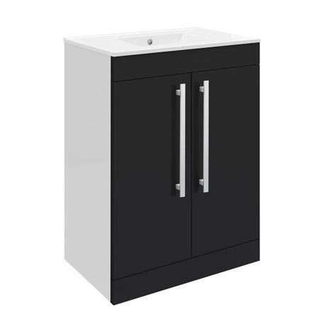 Ultra Design 600mm 2 Door Floor Mounted Basin & Cabinet - Gloss Black - 2 Basin Options