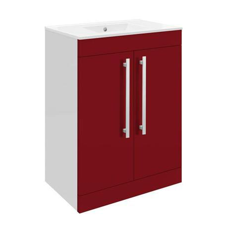Ultra Design 600mm 2 Door Floor Mounted Basin & Cabinet - Gloss Red - 2 Basin Options