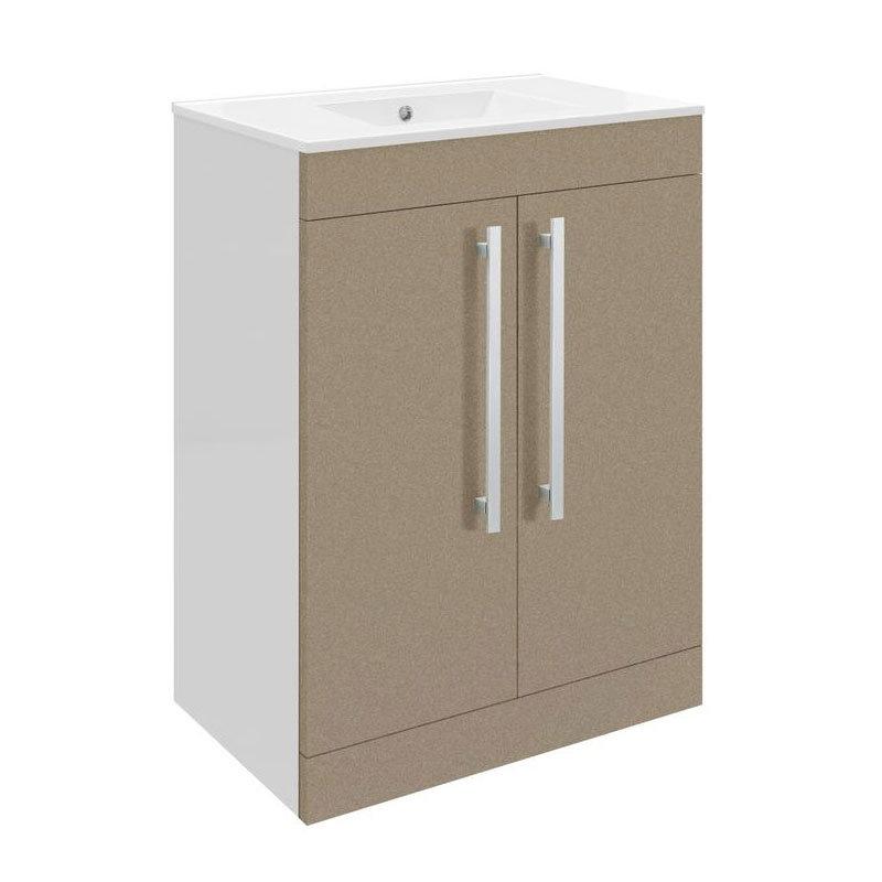 Ultra Design 600mm 2 Door Floor Mounted Basin & Cabinet - Gloss Caramel - 2 Basin Options Large Image