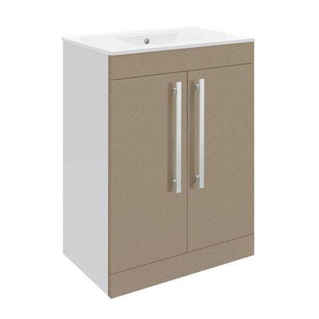 Ultra Design 600mm 2 Door Floor Mounted Basin & Cabinet - Gloss Caramel - 2 Basin Options