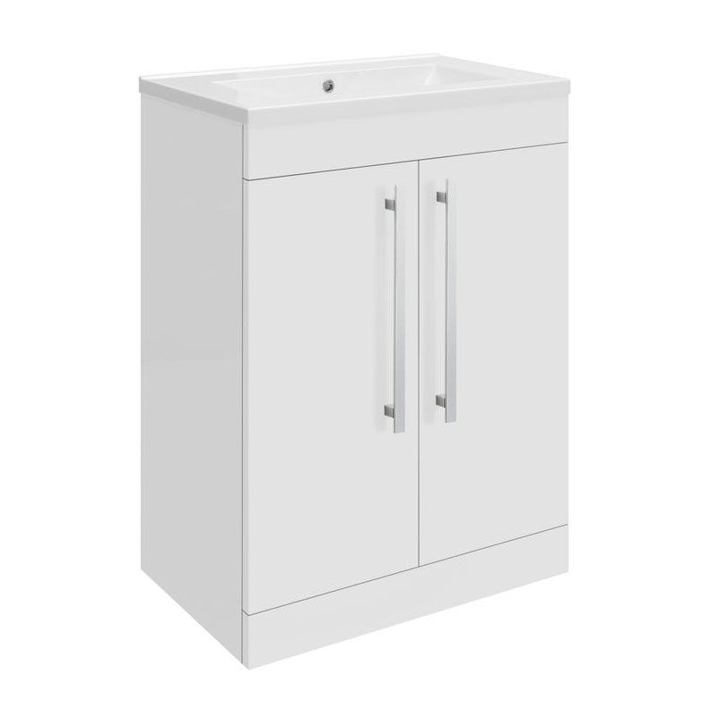 Ultra Design 600mm 2 Door Floor Mounted Basin & Cabinet - Gloss White - 2 Basin Options Large Image