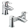 Bristan Capri Contemporary Basin + Bath Filler Tap Pack (Inc. Basin Pop-up Waste) profile small image view 1