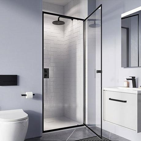 Crosswater 900mm Clear 6 Matt Black Pivot Shower Door - CAPDBC0900