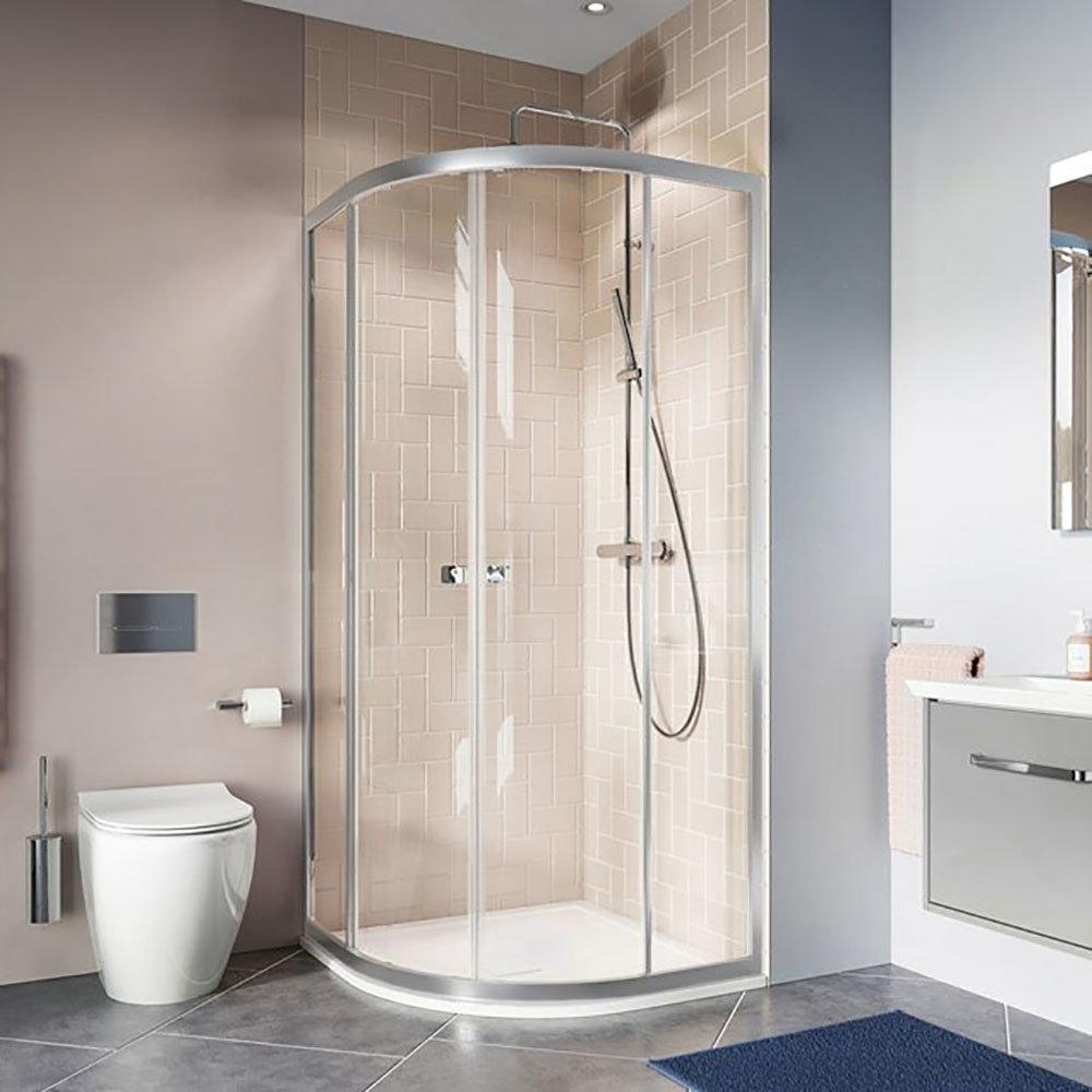 Crosswater 800 x 800mm Clear 6 Silver Quadrant Shower Enclosure - CAQDS0800