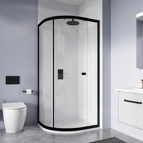 Crosswater 800 x 800mm Clear 6 Matt Black Quadrant Single Door Shower Enclosure - CAQSBC0800