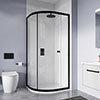 Crosswater 800 x 800mm Clear 6 Matt Black Quadrant Single Door Shower Enclosure - CAQSBC0800 profile small image view 1