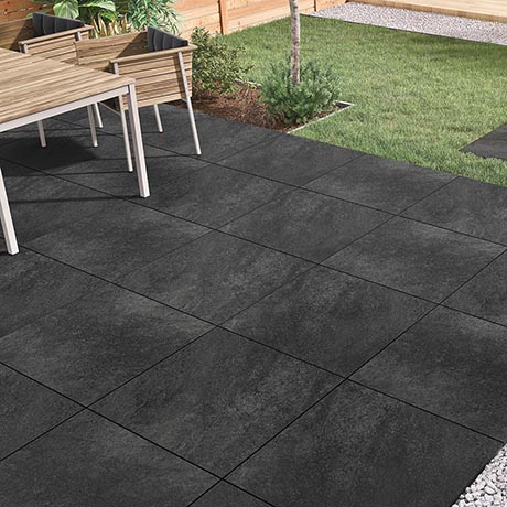 Carmona Black Outdoor Stone Effect Floor Tile - 600 x 900mm
