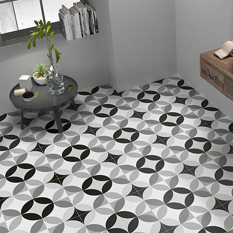 Caroline Black & White Wall and Floor Tiles - 200 x 200mm
