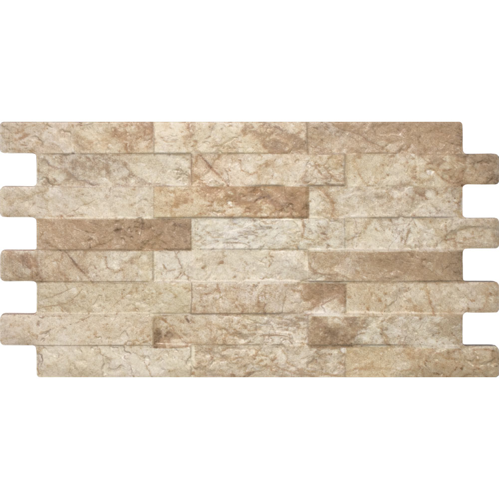 Cascade Cream Split Face Stone Wall Tiles - 250 x 445mm Large Image