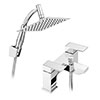 Cast Bath Shower Mixer with 200mm Square Shower Head, Extension Arm + Hose Kit profile small image view 1
