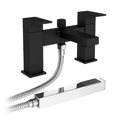 Arezzo Square Matt Black Bath Shower Mixer Tap Inc. Shower Kit