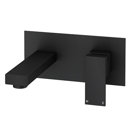 Arezzo Square Matt Black Wall Mounted Basin Mixer Tap