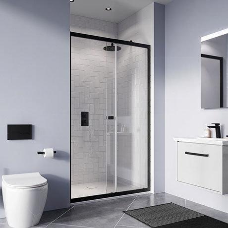 Crosswater Clear 6 Matt Black Single Sliding Shower Door