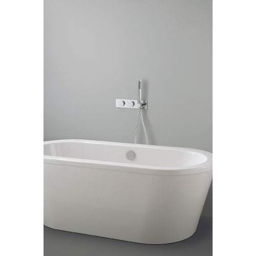 Crosswater Digital Cayman Slim Duo Bath with Bath Filler Waste and Shower Handset Large Image