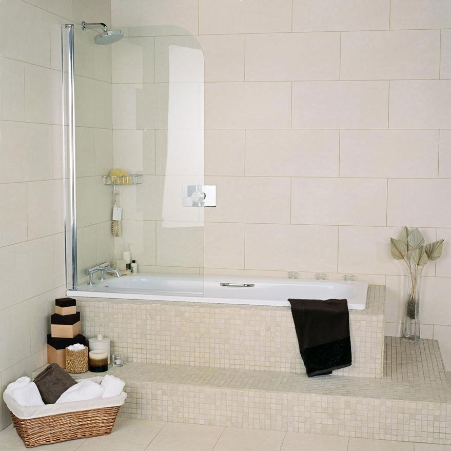 Roman Collage Curved Bath Screen - CB13S Large Image