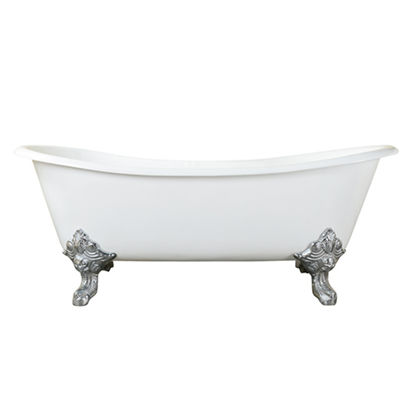 Thames Traditional Cast Iron Double Slipper Bath (1829 x 780mm ) with Feet