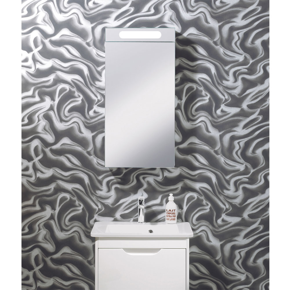 Bauhaus - 400mm Illuminated Aluminium Mirrored Cabinet with Shaving Socket - CB4080AL In Bathroom Large Image