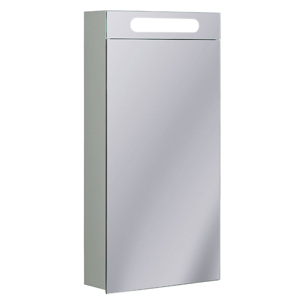 Bauhaus - 400mm Illuminated Aluminium Mirrored Cabinet with Shaving Socket - CB4080AL Large Image