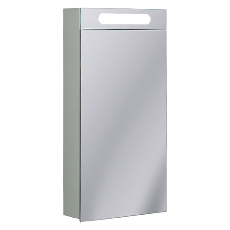 Bauhaus - 400mm Illuminated Aluminium Mirrored Cabinet with Shaving Socket - CB4080AL