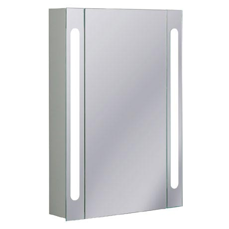 Bauhaus - 550mm Illuminated Aluminium Mirrored Cabinet with Shaving Socket - CB5580AL