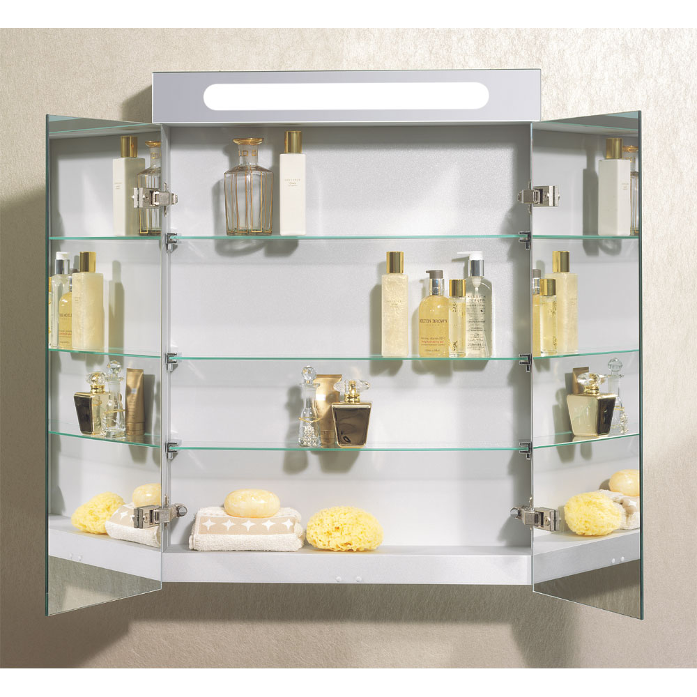 Bauhaus - 600mm Illuminated Aluminium Mirrored Cabinet with Shaving Socket - CB6080AL profile large image view 4