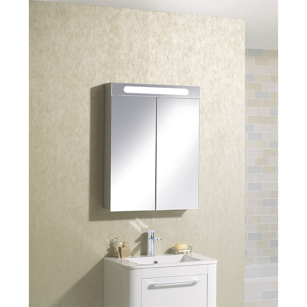 Bauhaus - 600mm Illuminated Aluminium Mirrored Cabinet with Shaving Socket - CB6080AL profile large image view 5