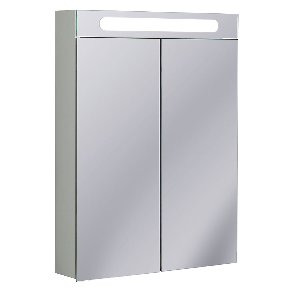 Bauhaus - 600mm Illuminated Aluminium Mirrored Cabinet with Shaving Socket - CB6080AL profile large image view 1
