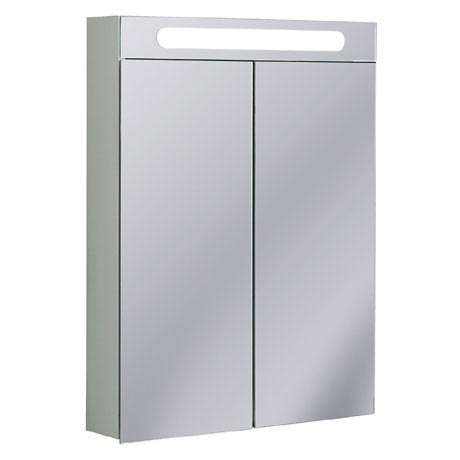 Bauhaus - 600mm Illuminated Aluminium Mirrored Cabinet with Shaving Socket - CB6080AL