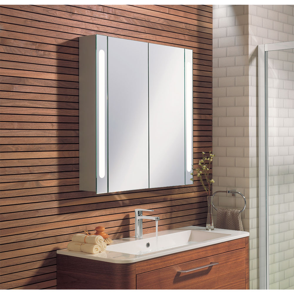 Bauhaus - 800mm Illuminated Aluminium Mirrored Cabinet with Shaving Socket - CB8080AL In Bathroom Large Image