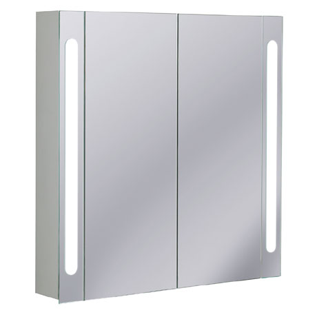 Bauhaus - 800mm Illuminated Aluminium Mirrored Cabinet with Shaving Socket - CB8080AL