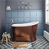 Chatsworth Copper Effect 1300 Short Roll Top Bath profile small image view 1