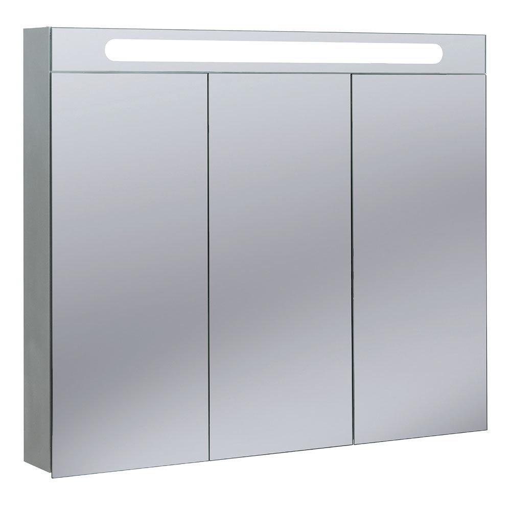 Bauhaus - 950mm Illuminated Aluminium Mirrored Cabinet with Shaving Socket - CB9080AL Large Image