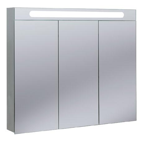 Bauhaus - 950mm Illuminated Aluminium Mirrored Cabinet with Shaving Socket - CB9080AL
