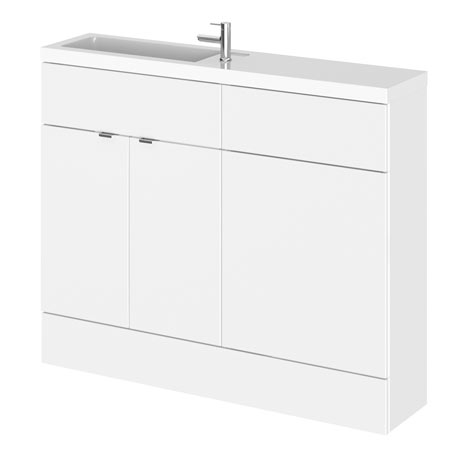 Hudson Reed 1100mm Gloss White Compact Combination Unit (600 Vanity + 500 WC unit)