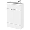 Hudson Reed Fusion Gloss White 605x260mm Compact Vanity Unit & Basin profile small image view 1