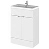 Hudson Reed Fusion Gloss White 605x360mm Vanity Unit & Basin profile small image view 1