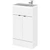 Hudson Reed Fusion Gloss White 505x260mm Compact Vanity Unit & Basin profile small image view 1