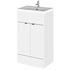 Hudson Reed Fusion Gloss White 505x360mm Vanity Unit & Basin profile small image view 1