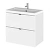 Hudson Reed 600mm Gloss White Full Depth Wall Hung 2-Drawer Unit & Basin profile small image view 1