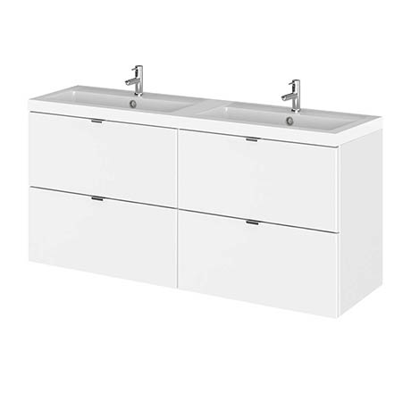 Hudson Reed 1200mm Gloss White Full Depth Wall Hung 4-Drawer Unit & Double Basin