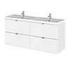 Hudson Reed 1200mm Gloss White Full Depth Wall Hung 4-Drawer Unit & Double Basin profile small image view 1