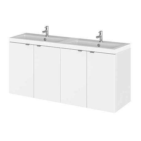 Hudson Reed 1200mm Gloss White Full Depth Wall Hung Unit & Double Basin